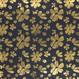 Light Chambray denim fabric - Blue Gold Flower x 10cm