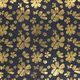 Tissu coton Chambray Gold Flower - bleu jean x 10cm