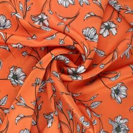 Embossed Satin Fabric - Orange Elaganza x 10cm