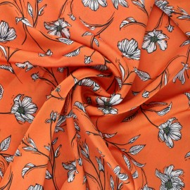 Tissu satin gaufré Eleganza - orange x 10 cm