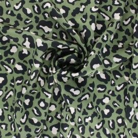 Embossed Satin Fabric - Green Leopard