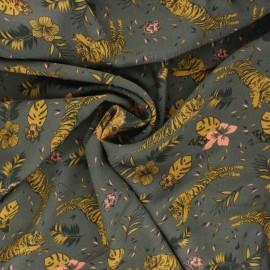 Tissu Viscose Radiance Wild tiger by Penelope® - vert kaki x 10cm