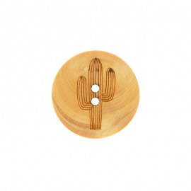 Wood Button Eiffel - Natural