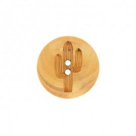 Wood Button Cactus - Natural