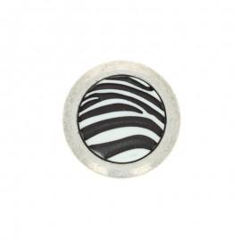 Bouton polyester Zebra 27mm - Blanc