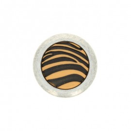 Polyester Button Zebra - white