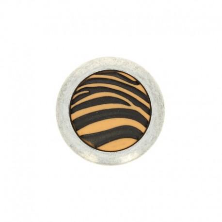 Polyester Button Zebra - white