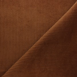 Thick ribbed velvet fabric - mahogany x 10cm
