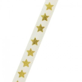 Single-sided Satin Ribbon, star - White/Gold