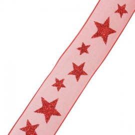 Single-sided Organza Ribbon, Spangled Stars - red