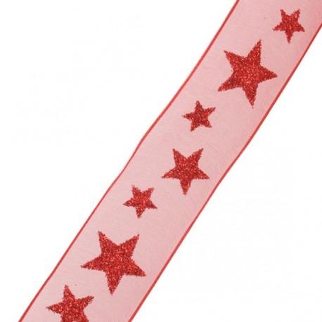 Single-sided Organza Ribbon, Spangled Stars - red