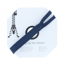 Invisible Zip by the meter with sliders - Navy blue