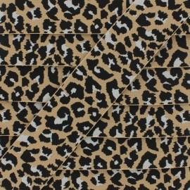 40 mm Leopard Elastic Ribbon - Sand x 1m