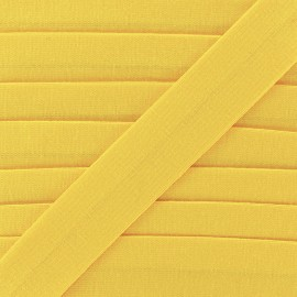 Plain cotton jersey bias binding 20mm - yellow x 1m