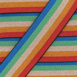 Striped lurex elastic band Copacabana - multicolor x 50cm