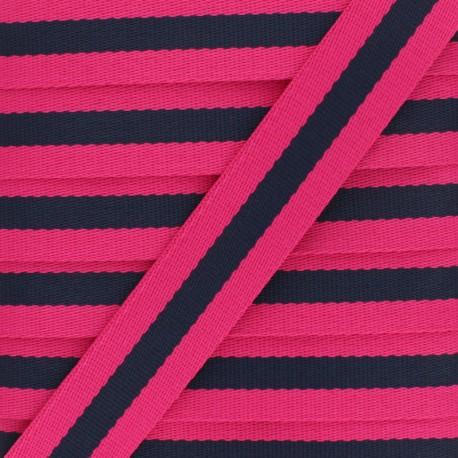 32 mm Reversible Striped Strap - Fuchsia Gohan x 50cm