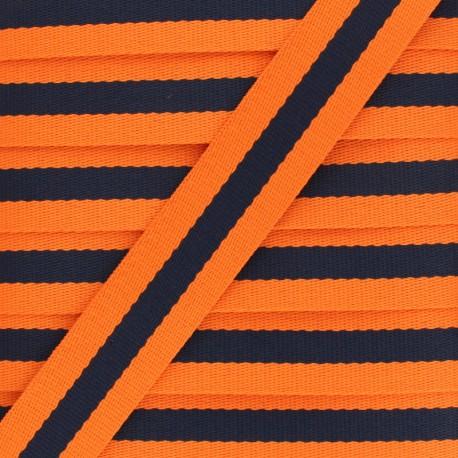 Sangle Rayée Réversible Gohan 30 mm - Orange x 50cm