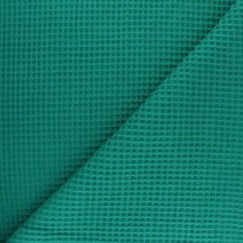 Waffle stitch cotton fabric - celadon x 10cm