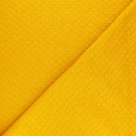 Quilted jersey fabric Diamonds 10/20 - Mustard x 10cm