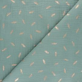 Double cotton gauze fabric - Old pink Golden plume x 10cm
