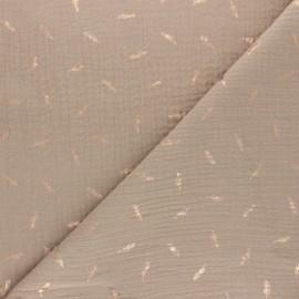Tissu double gaze de coton plume dorée - Vert x 10cm