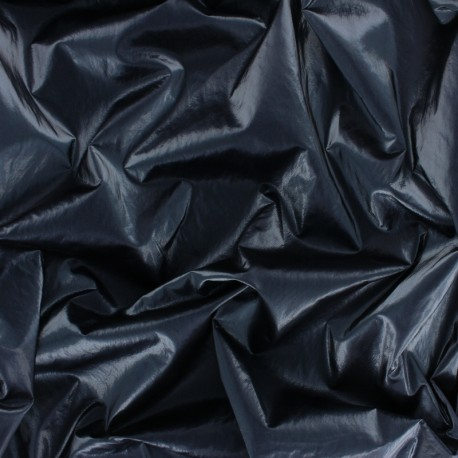 Crinkle vinyl fabric  - Lovat Green Shiny x 10cm