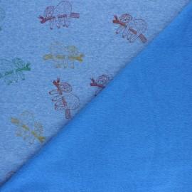Tissu sweat envers minkee Paresseux - jaune x 10cm