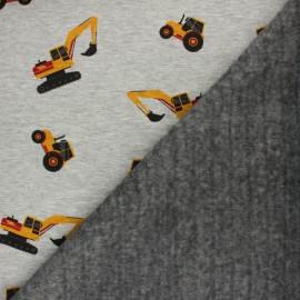 Tissu sweat envers minkee Travaux - gris clair x 10cm