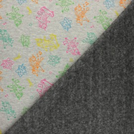 Tissu sweat envers minkee Rock unicorns - gris clair x 10cm