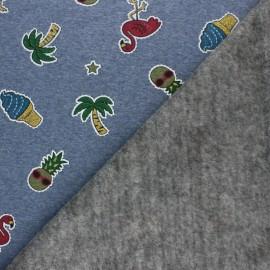 Tissu sweat envers minkee Glittery holidays - bleu chiné x 10cm