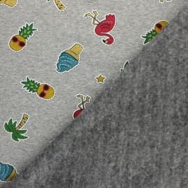 Tissu sweat envers minkee Glittery holidays - gris clair x 10cm