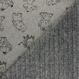 Tissu sweat envers minkee Glittery holydays - gris clair x 10cm