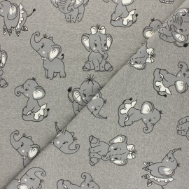 Tissu sweat léger molletonné Dancing elephant - gris x 10cm
