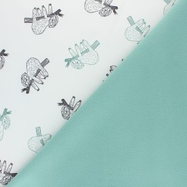 Tissu Softshell Paresseux - blanc x 10cm