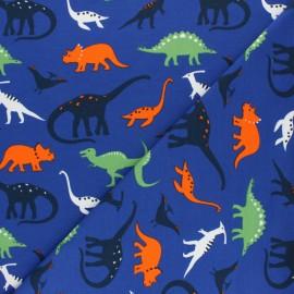 Tissu sweat léger Dinosaurus - Bleu roi x 10cm