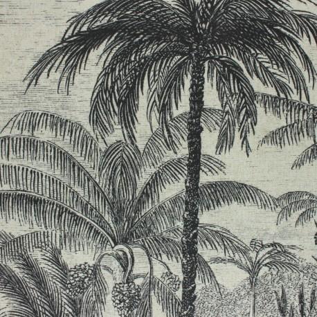 Tissu toile polyester lin Saba - naturel x 96 cm