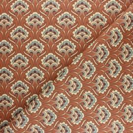 Cretonne cotton fabric - Brick red Sybil x 10cm