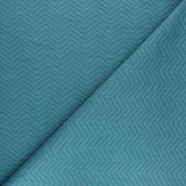 Herringbone Quilted jersey fabric - blue x 10 cm