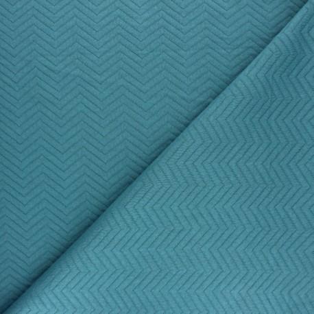 Herringbone Quilted jersey fabric - Navy blue x 10 cm