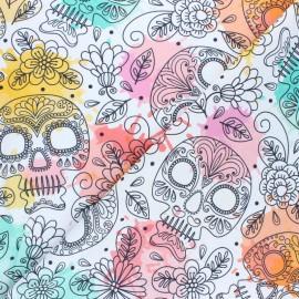 Tissu coton cretonne Funny skulls - Blanc x 35cm