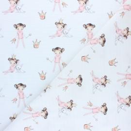 Tissu coton cretonne Smiling rainbow - rose x 10cm