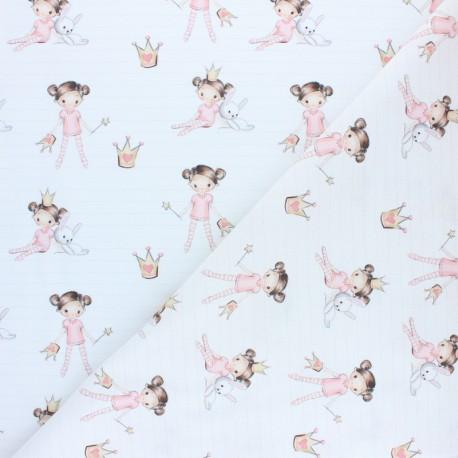 Cretonne cotton fabric - pink Smiling rainbow x 10cm
