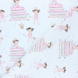 Cretonne cotton fabric - white Princesse Emilie x 10cm