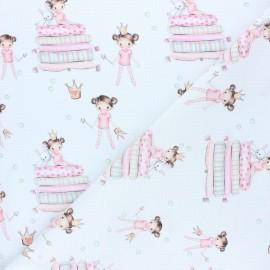 Tissu coton cretonne Princesse Emilie - Blanc x 10cm