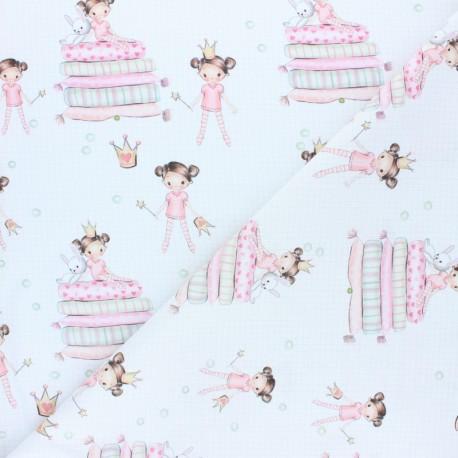 Cretonne cotton fabric - white Princesse Emilie x 10cm