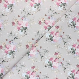 Cretonne cotton fabric - white Jolie Emilie x 10cm