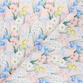Cretonne cotton fabric - pink beige Rosalia x 10cm