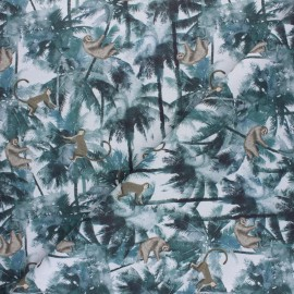 Cretonne cotton fabric - light blue Averse tropicale x 10cm