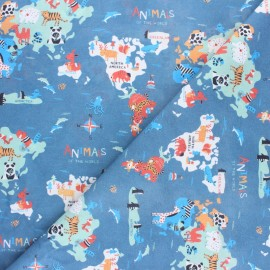 Cretonne cotton fabric - Blue Mini Animals of the world x 50cm