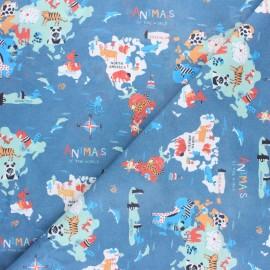 Tissu coton cretonne Mini Animaux du monde - bleu x 50cm